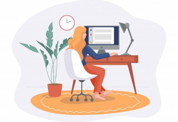 freelance-woman-work-from-home-comfortable-space-chair-with-computer-table-flat-style-isolated-white-freelancer-girl-self-employed-concept-working-online_90220-15
